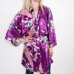 Simplicity Peacock Asian Floral Purple Kimono Robe